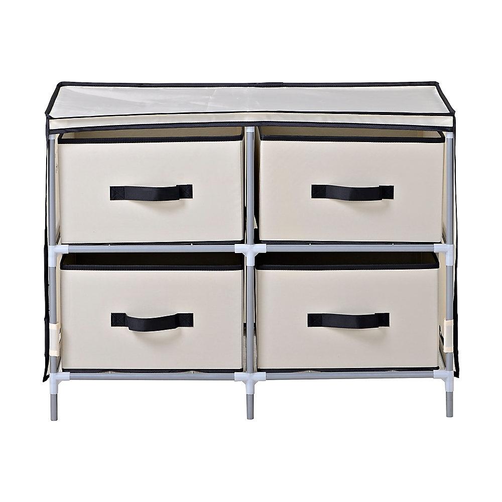 4-Drawer Fabric Dresser, Beige