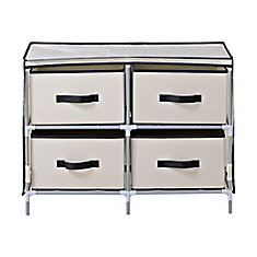 4-Drawer Fabric Dresser, Beige