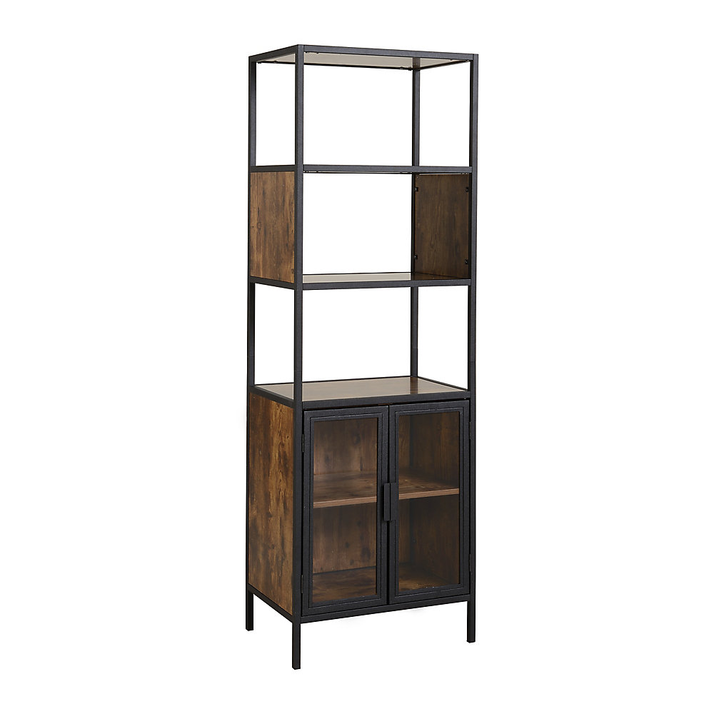 Metal and wood Display Cabinet with glass doors