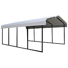 Carport Steel 12 x 20 x 7 ft. Black/Eggshell