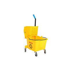 Globe Commercial Products 26 Qt. Sidepress Bucket and Wringer Yellow