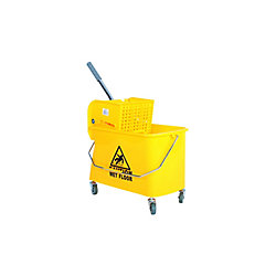 Globe Commercial Products 21 Qt. Sidepress Bucket and Wringer Yellow