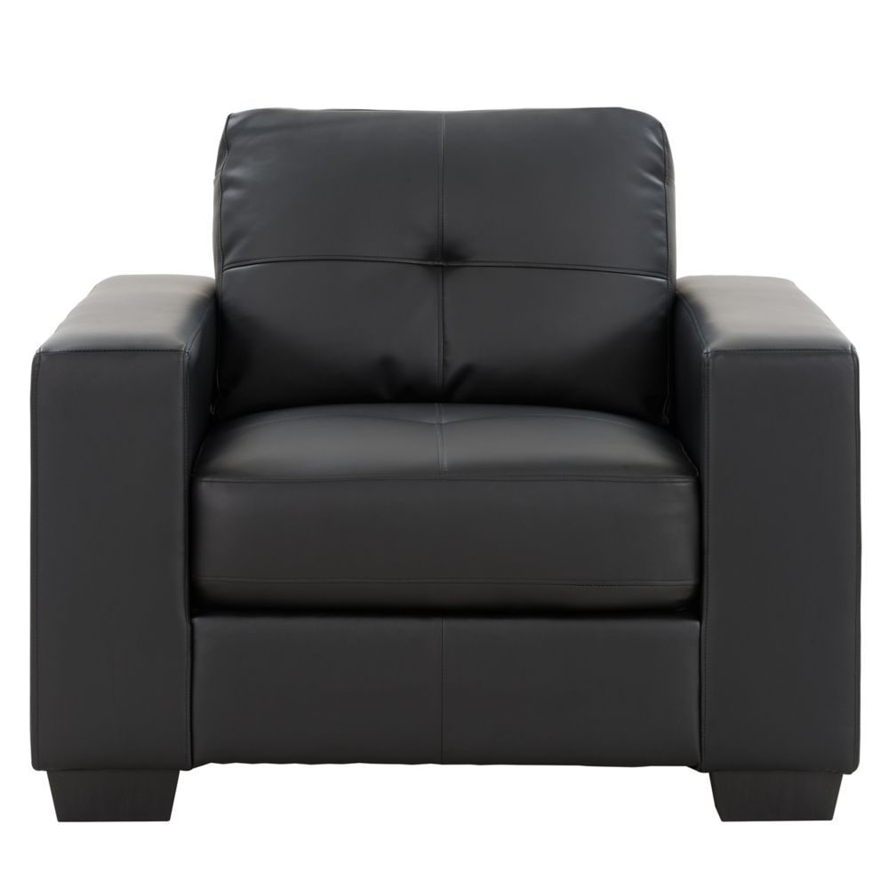 Corliving Club Tufted Black Bonded Leather Chair