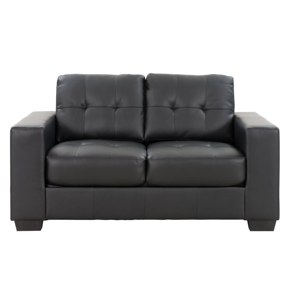 Corliving ClubTufted Black Bonded Leather Loveseat