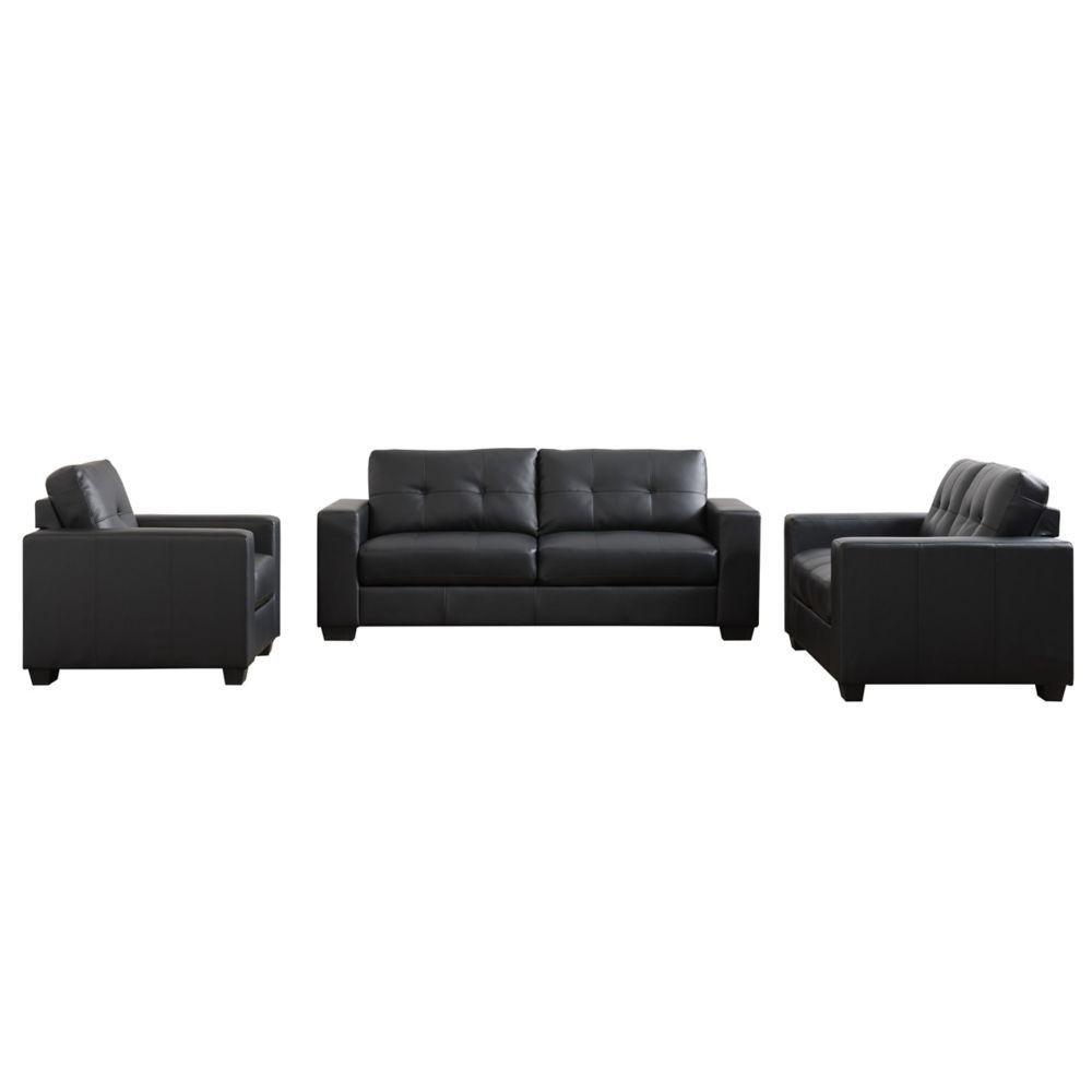Club 3-Piece Tufted Black Bonded Leather Sofa Set