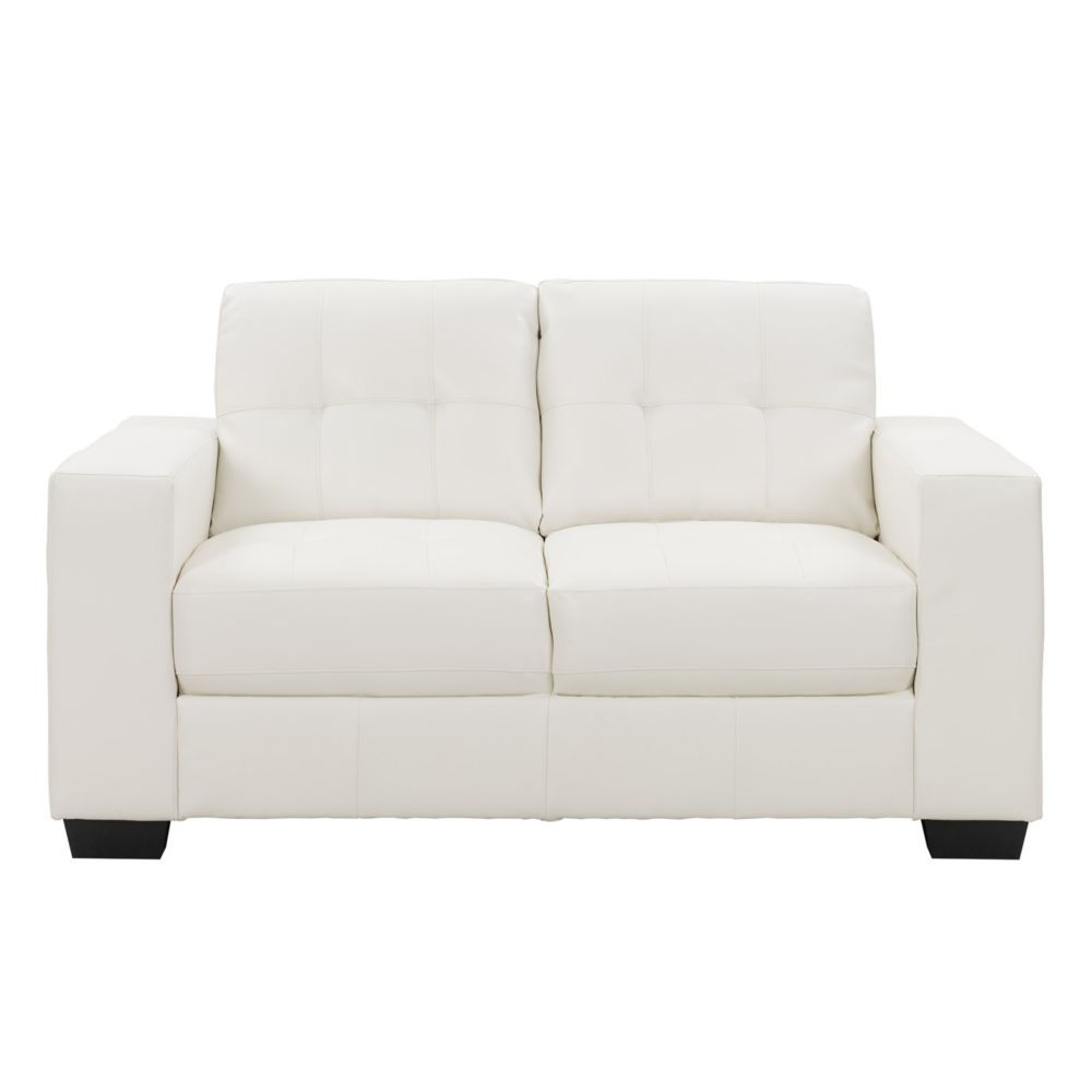 Corliving Club Tufted White Bonded Leather Loveseat