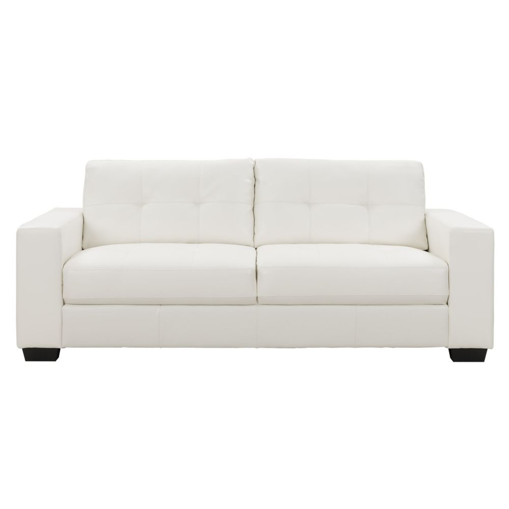 Corliving Club Tufted White Bonded Leather Sofa