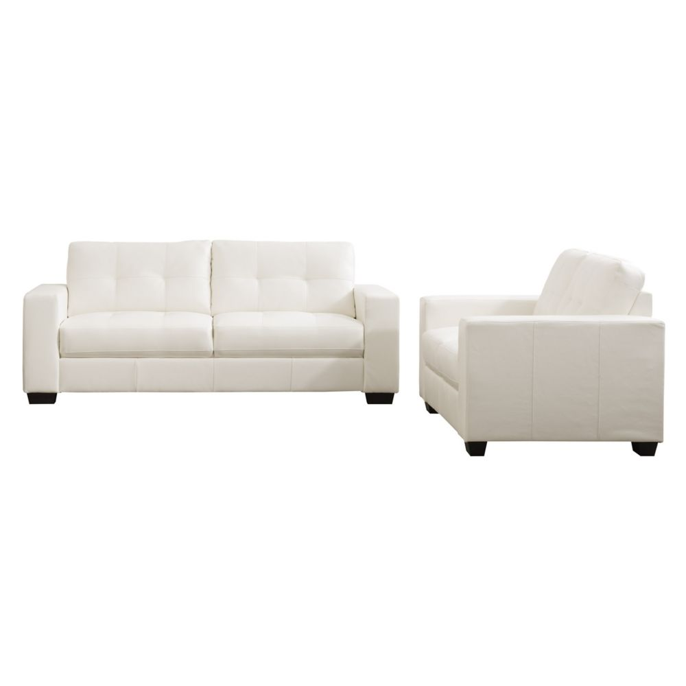 Corliving Club 2 Piece Tufted White Bonded Leather Sofa