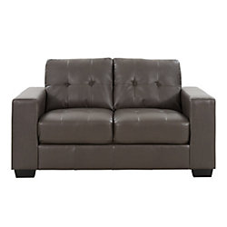 Corliving Club Tufted Brownish-Grey Bonded Leather Loveseat