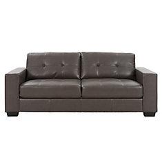 Sofa Club capitonné en cuir reconstitué gris-brun