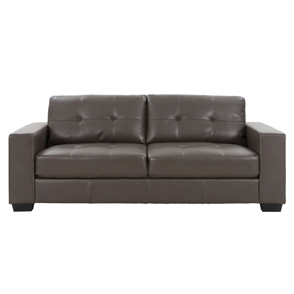 Corliving Club Tufted Brownish-Grey Bonded Leather Sofa