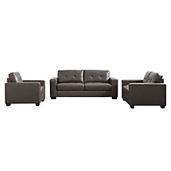 Corliving Club 3-Piece Tufted Brownish-Grey Bonded Leather Sofa Set