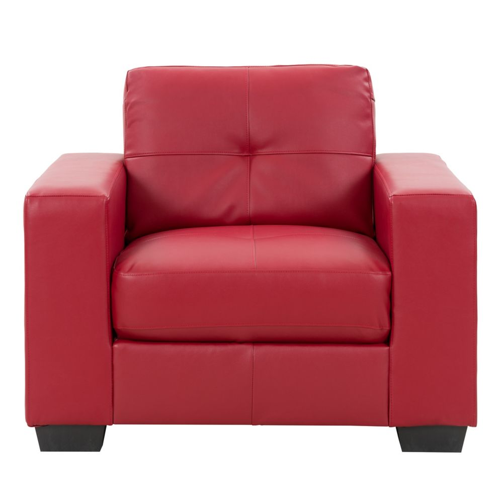 Corliving Club Tufted Red Bonded Leather Chair