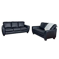 Corliving Jazz 2-Piece Black Bonded Leather Sofa Set