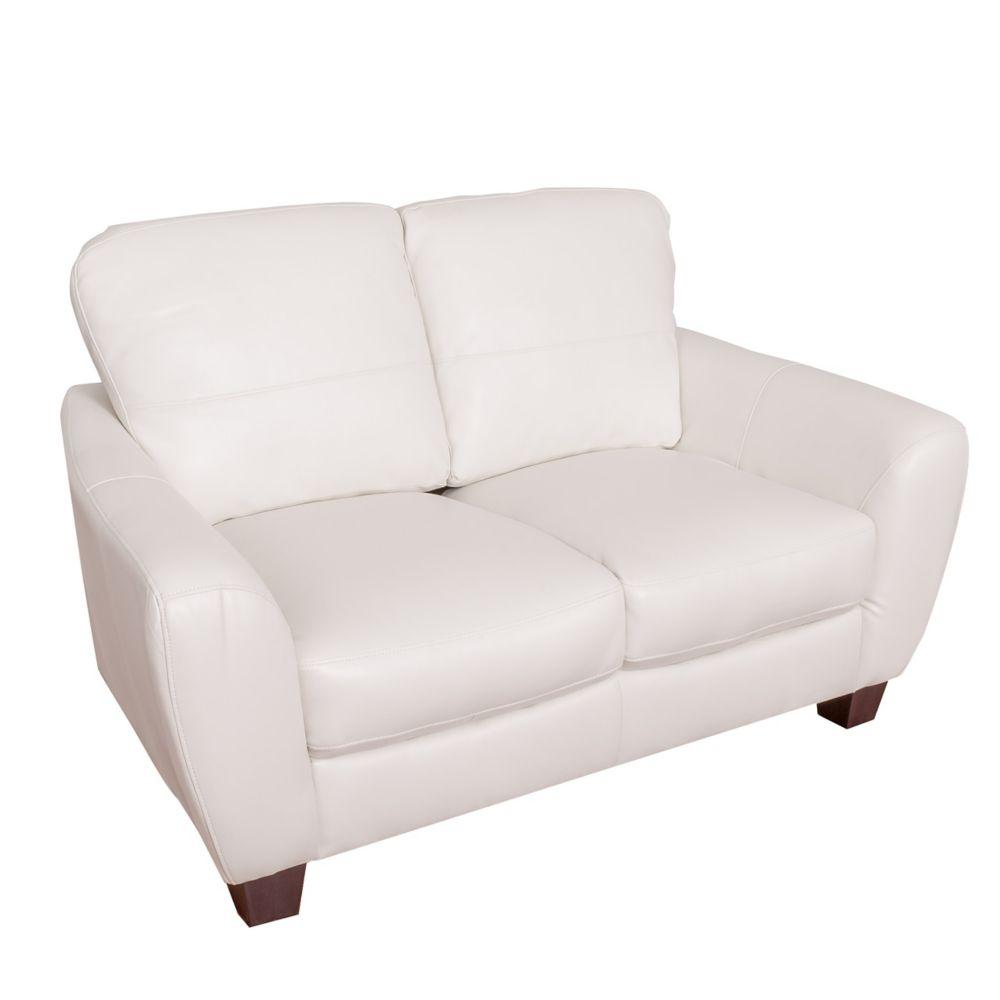 Corliving Jazz White Bonded Leather Loveseat