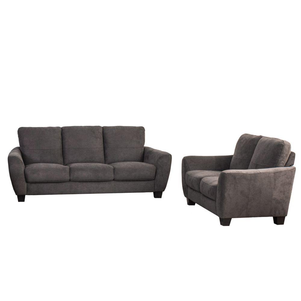 Corliving Jazz 2-PieceGrey Chenille Fabric Sofa Set