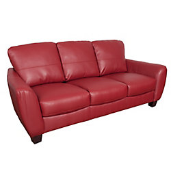 Corliving Jazz Red Bonded Leather Sofa