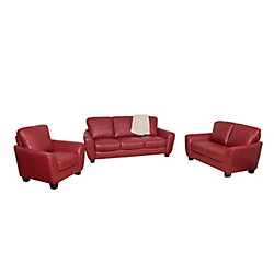 Corliving Jazz 3-Piece Red Bonded Leather Sofa Set