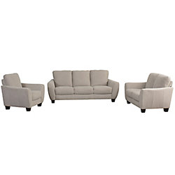 Corliving Jazz 3-Piece Beige Chenille Fabric Sofa Set