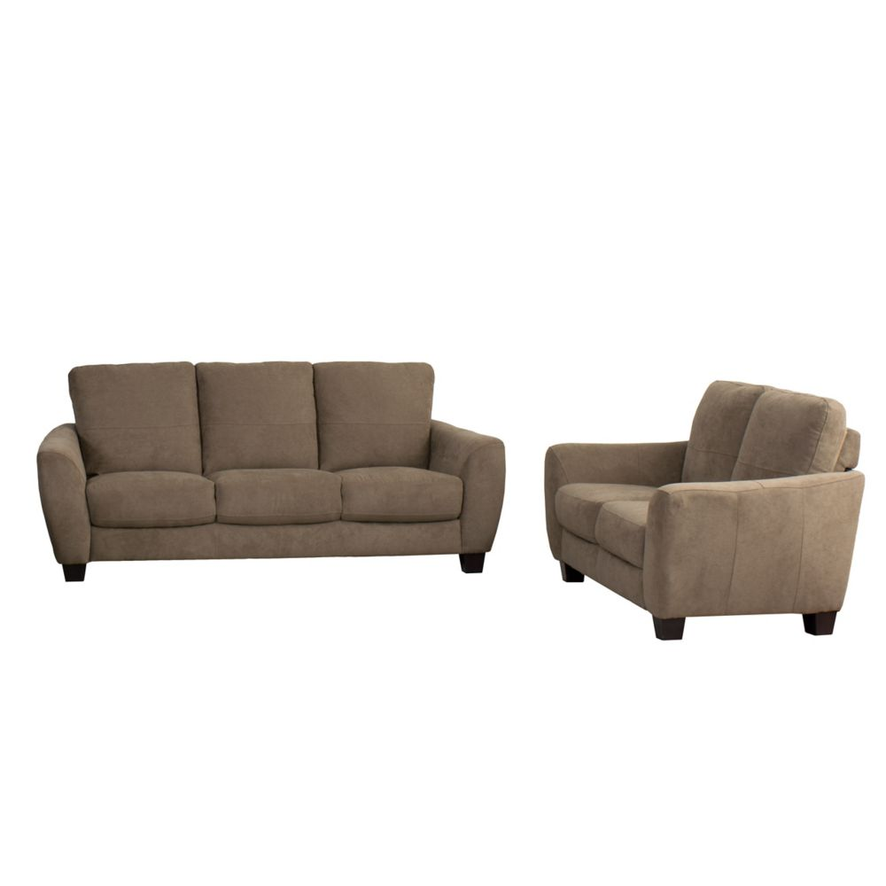 Corliving Jazz 2-Piece Brown Chenille Fabric Sofa Set