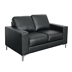 Corliving Cory Contemporary Black Bonded Leather Loveseat