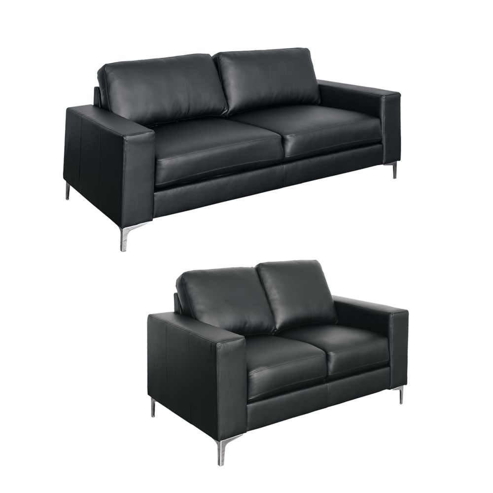 Corliving Cory 2-Piece Contemporary Black Bonded Leather Sofa Set