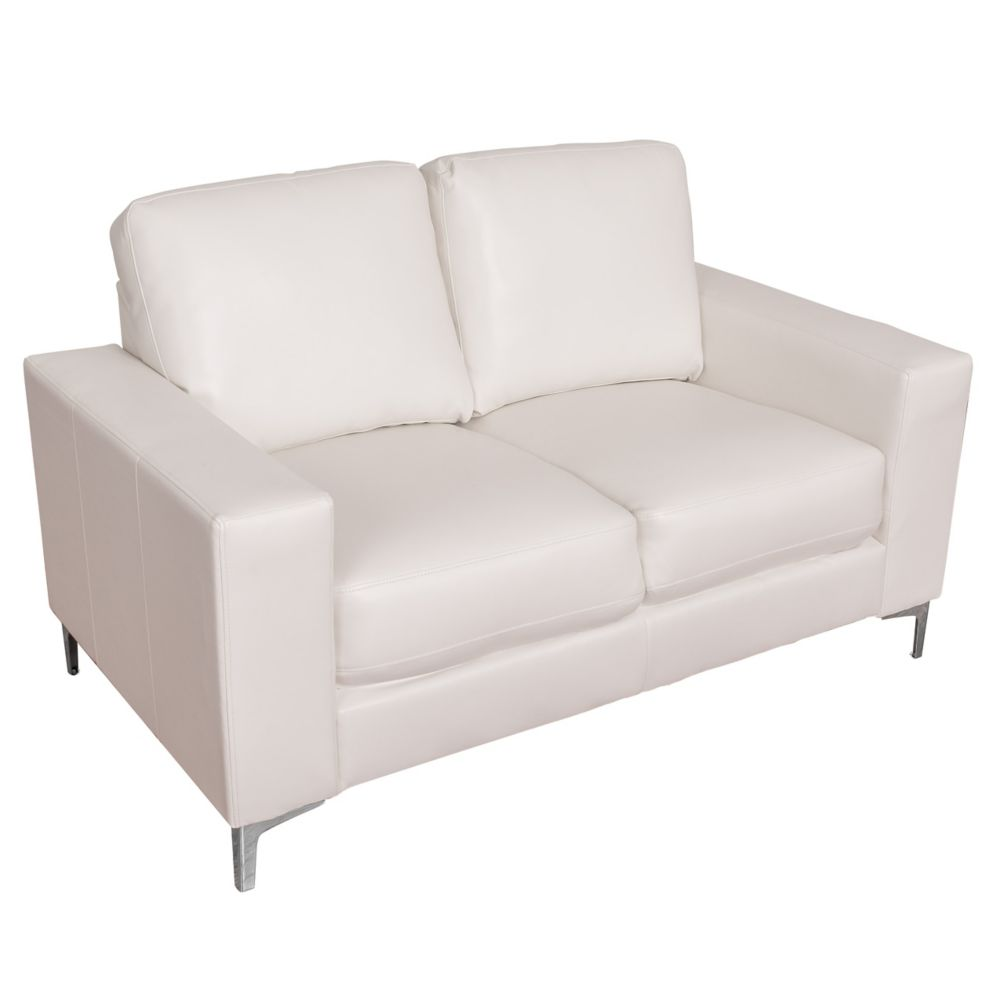Cory Contemporary White Bonded Leather Loveseat