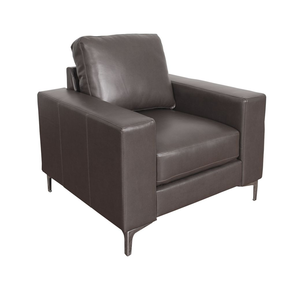 Corliving Cory Contemporary Brownish-Grey Bonded Leather Chair