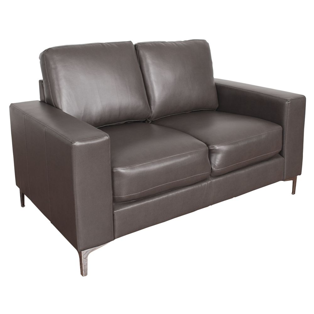 Corliving Cory Contemporary Brownish-Grey Bonded Leather Loveseat
