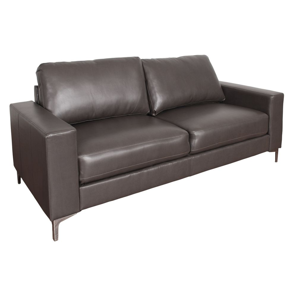 Corliving Cory Contemporary Brownish-Grey Bonded Leather Sofa