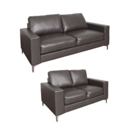 Corliving Cory 2-Piece Contemporary Brownish-Grey Bonded Leather Sofa Set
