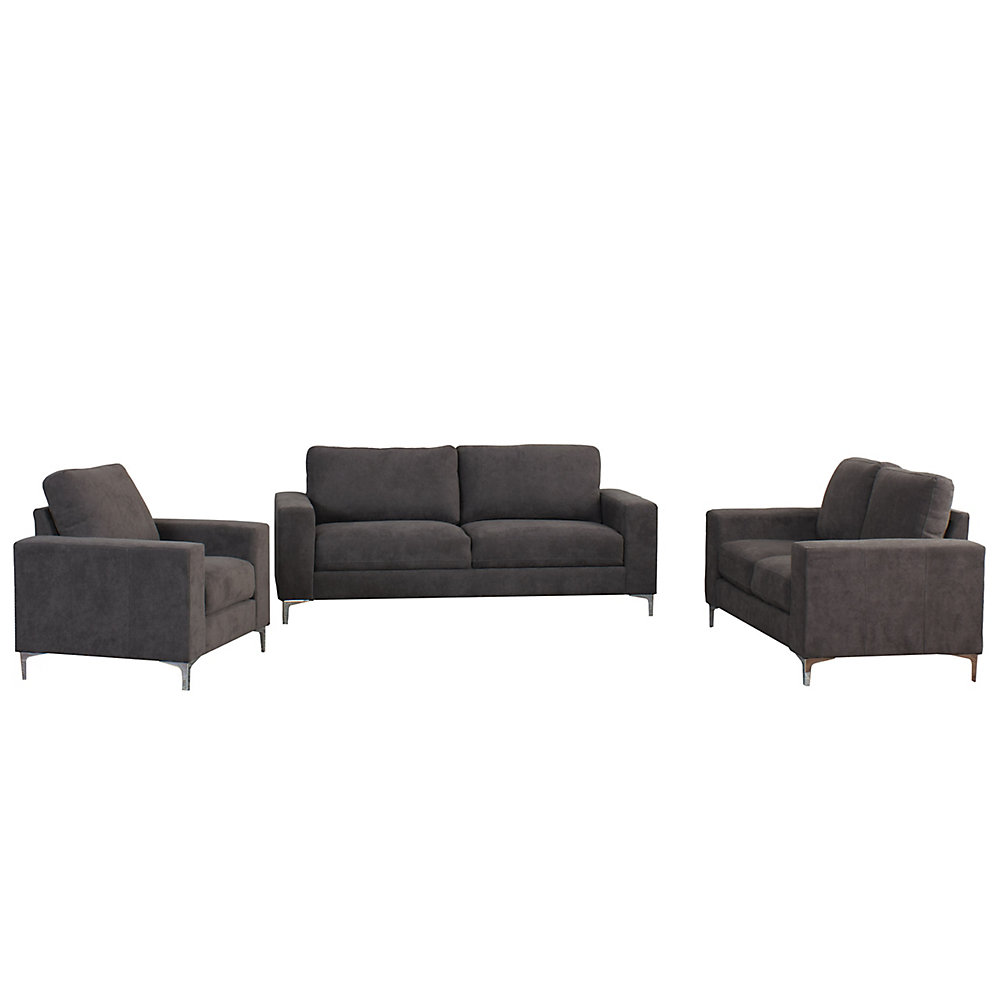 Cory 3-Piece Contemporary Grey Chenille Fabric Sofa Set