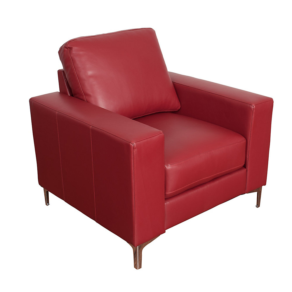Fauteuil contemporain Cory en cuir reconstitué rouge