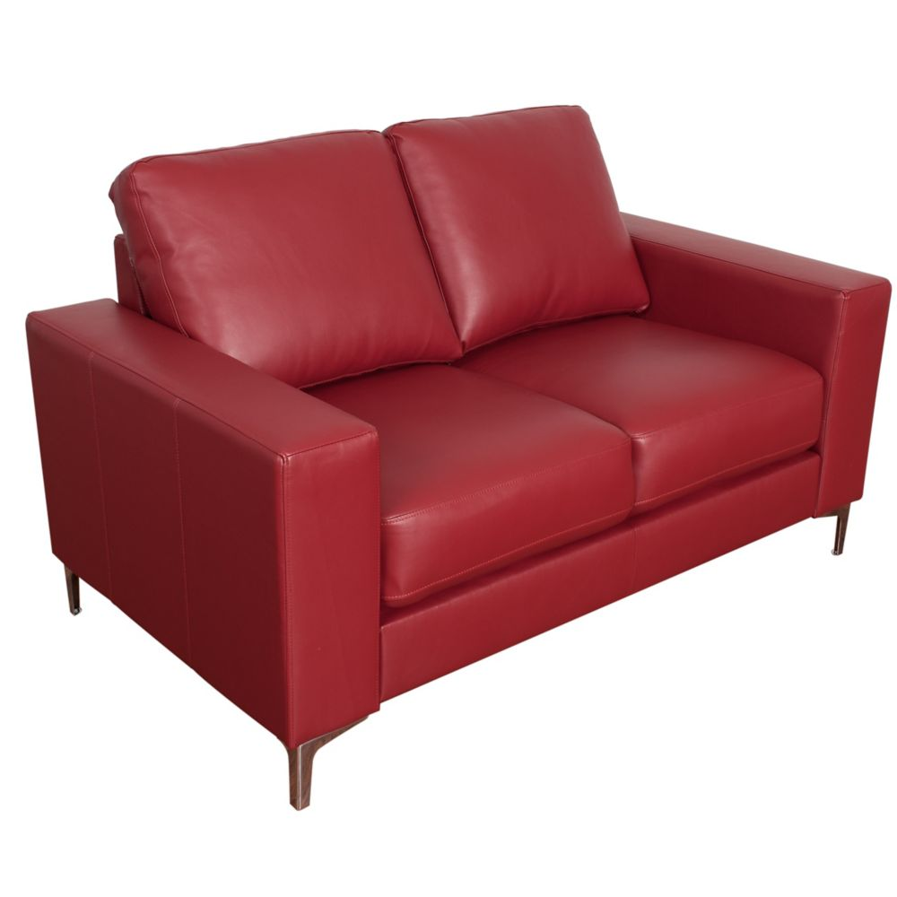 Corliving Cory Contemporary Red Bonded Leather Loveseat