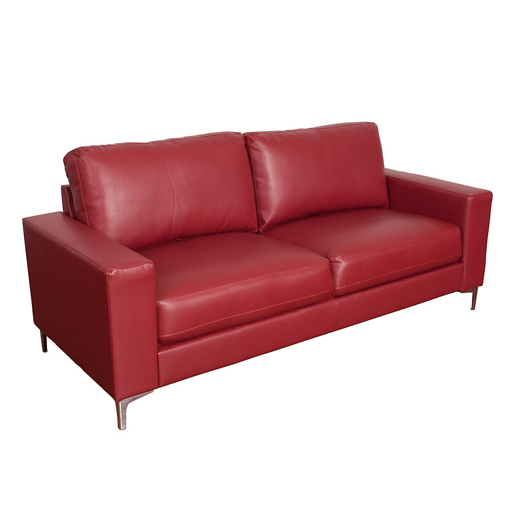 Cory Contemporary Red Bonded Leather Sofa