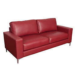 Corliving Cory Contemporary Red Bonded Leather Sofa