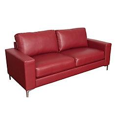 Sofa contemporain Cory en cuir reconstitué rouge