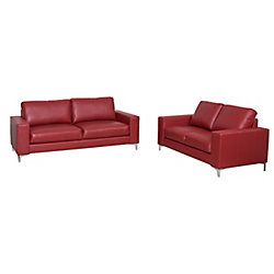 Corliving Cory 2-Piece Contemporary Red Bonded Leather Sofa Set