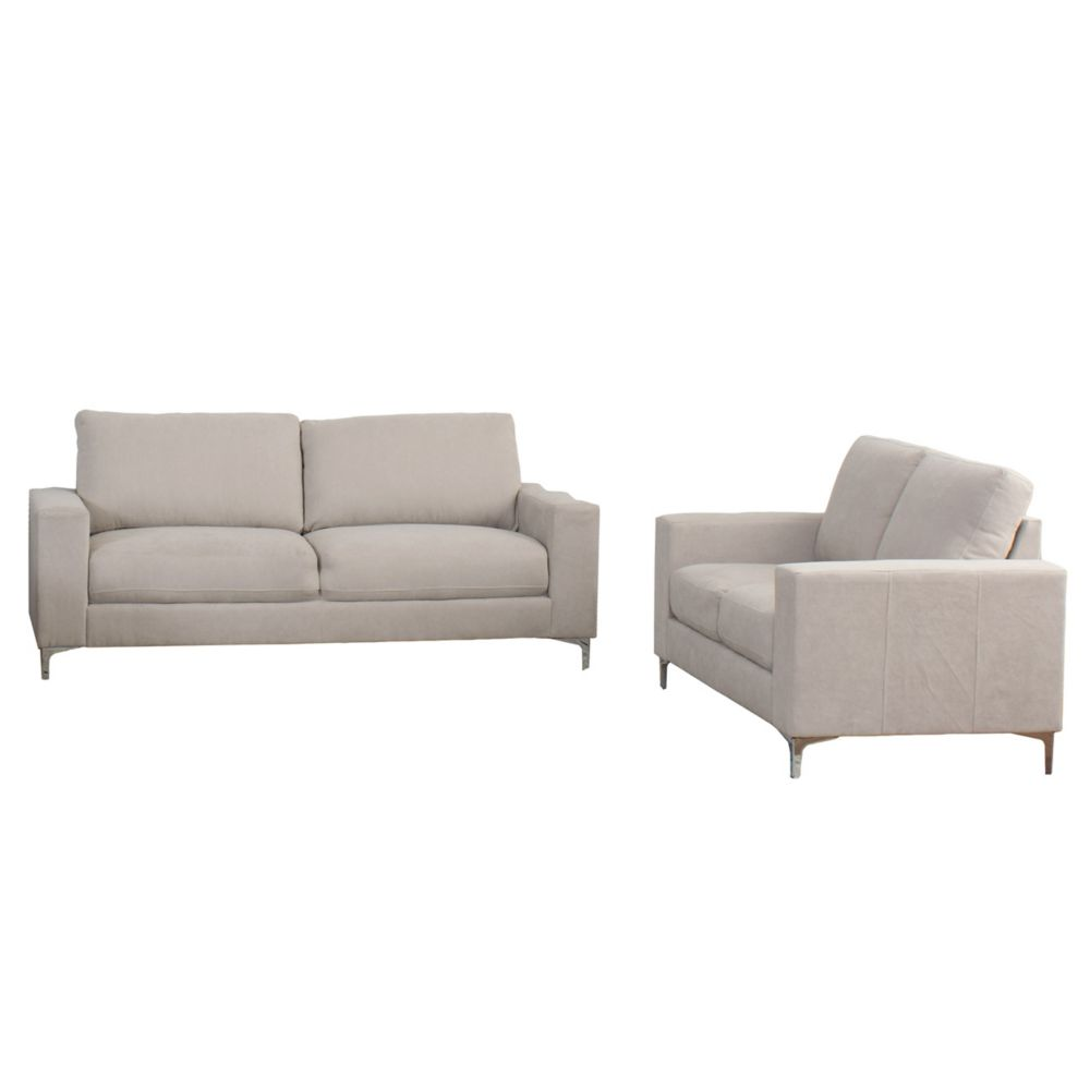 Corliving Cory 2-Piece Contemporary Beige Chenille Fabric Sofa Set