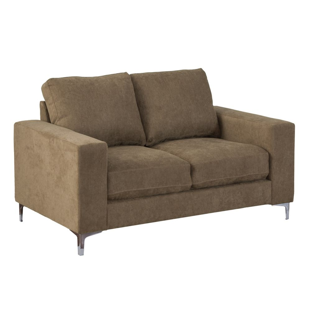 Corliving Cory Brown Chenille Fabric Loveseat