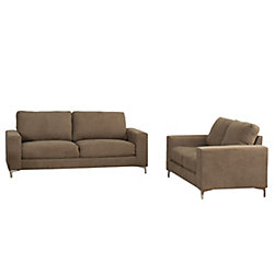 Corliving Cory 2-Piece Contemporary Brown Chenille Fabric Sofa Set
