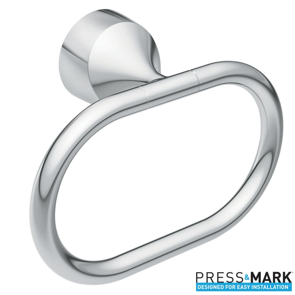 Moen Idora Towel Ring with Press and Mark in Chrome