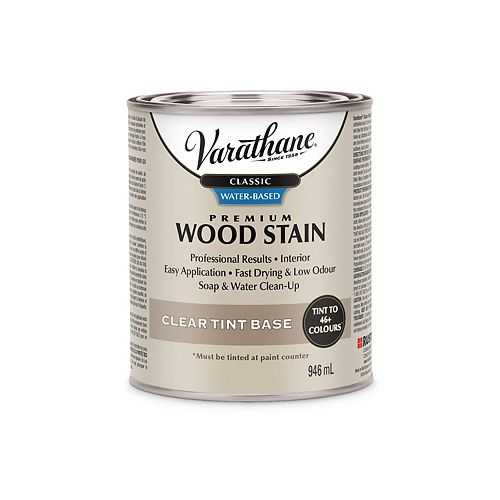 Varathane Classic Premium Water-Based Wood Stain Clear Tint Base - Tintatable To 10 Colours, 858 Ml