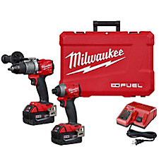 M18 FUEL 18V Lithium-Ion Brushless Cordless Hammer Drill & Impact Driver Kit with (2) 5Ah Batteries
