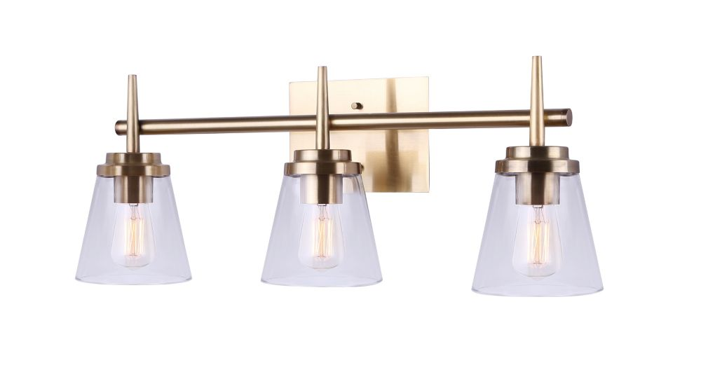 Canarm PARISH 3-Light Gold Vanity with Clear Glass
