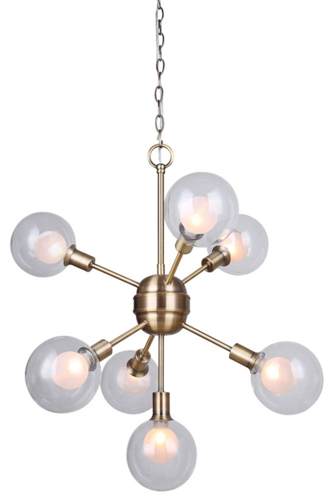Canarm ESTELLA 7-light gold chandelier with double glass