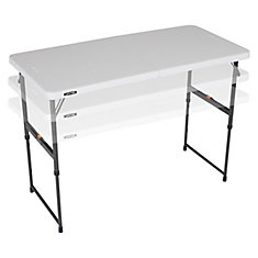 4-Foot Fold-In-Half One Hand Adjustable Height Table