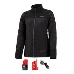 Milwaukee Tool Petite veste matelassée chauffante noire AXIS 12 V sans fil au lithium-ion M12 pour femme (1) Batterie 2.0Ah