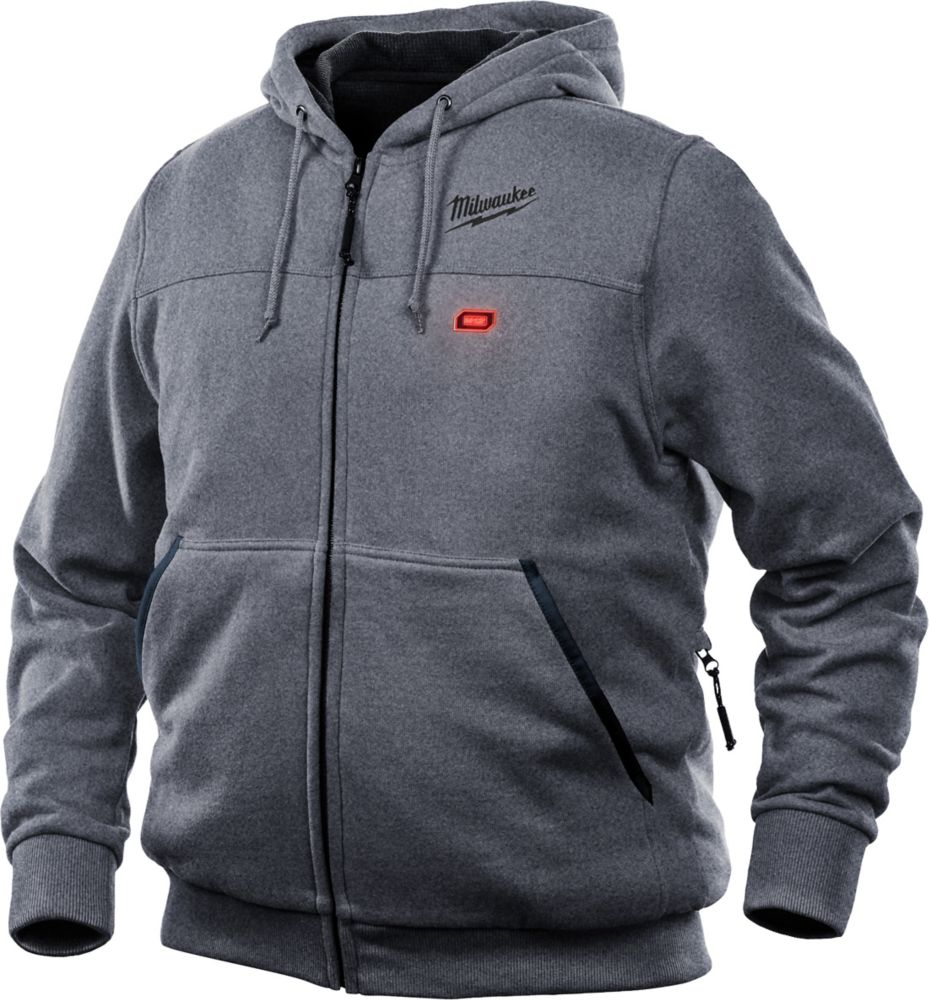 Milwaukee Tool Men's X-Large M12 12-Volt Lithium-Ion Cordless Gray Heated Hoodie (Tool Only)