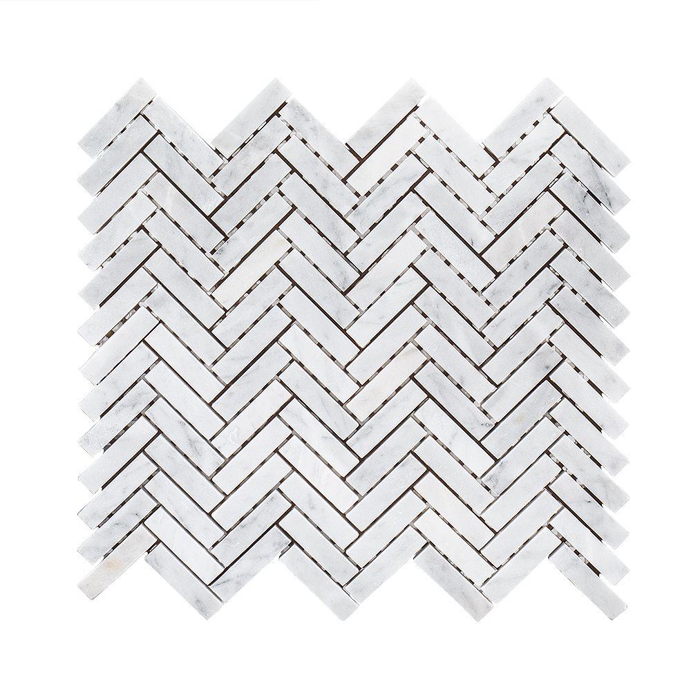 Jeffrey Court Steamboat White Herringbone 10-inch x 11-inch x 6 mm Marble Stone Mosaic Tile